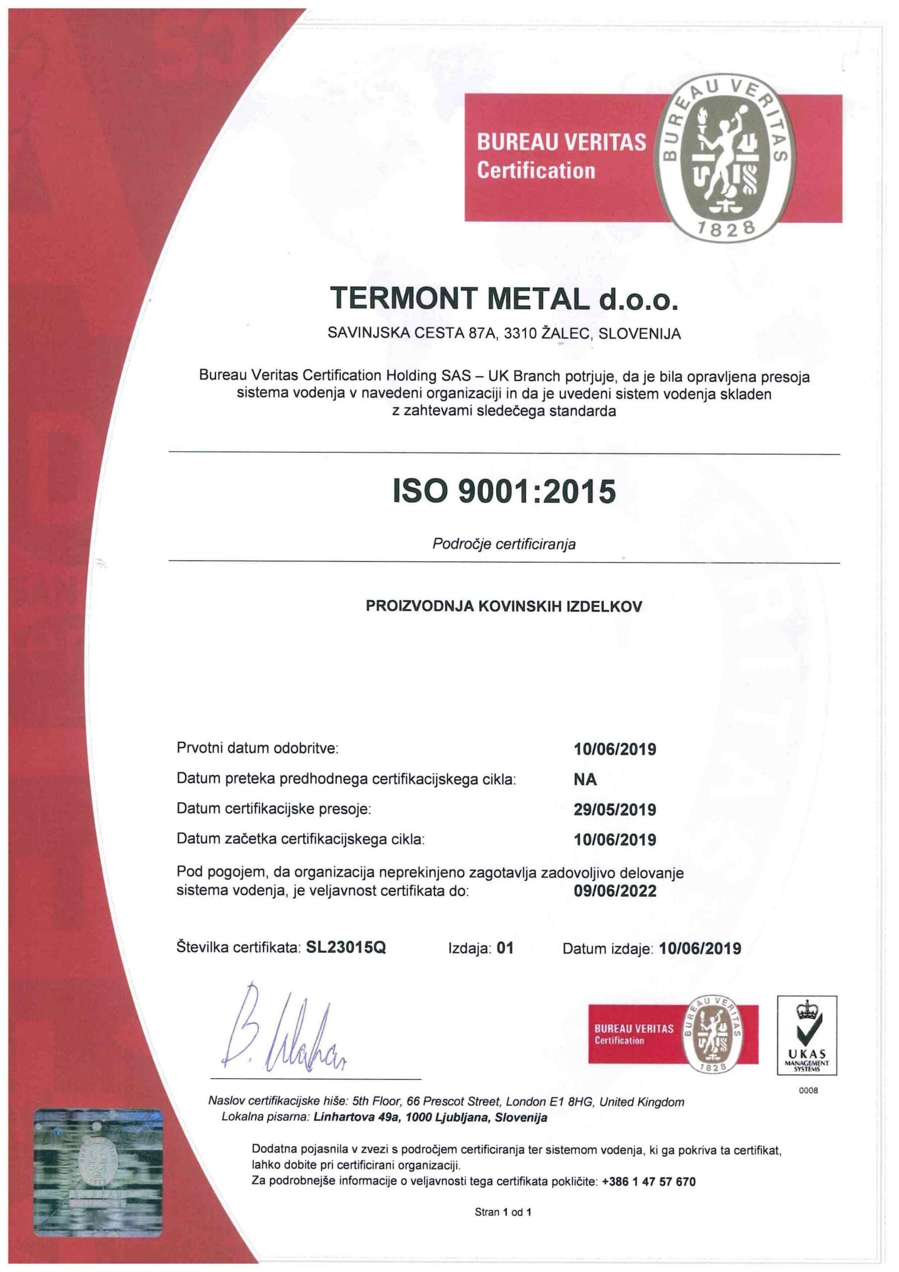 ISO 9001-2015 SLO